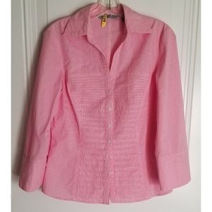 Signature by Larry Levine blouse pink pleated EUC